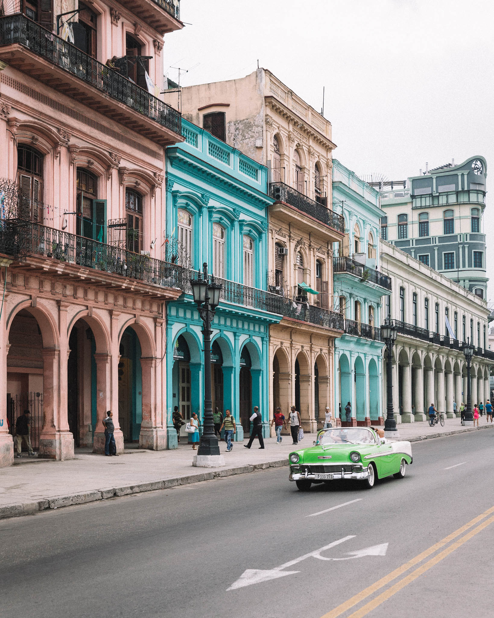 Havana street with vintage car